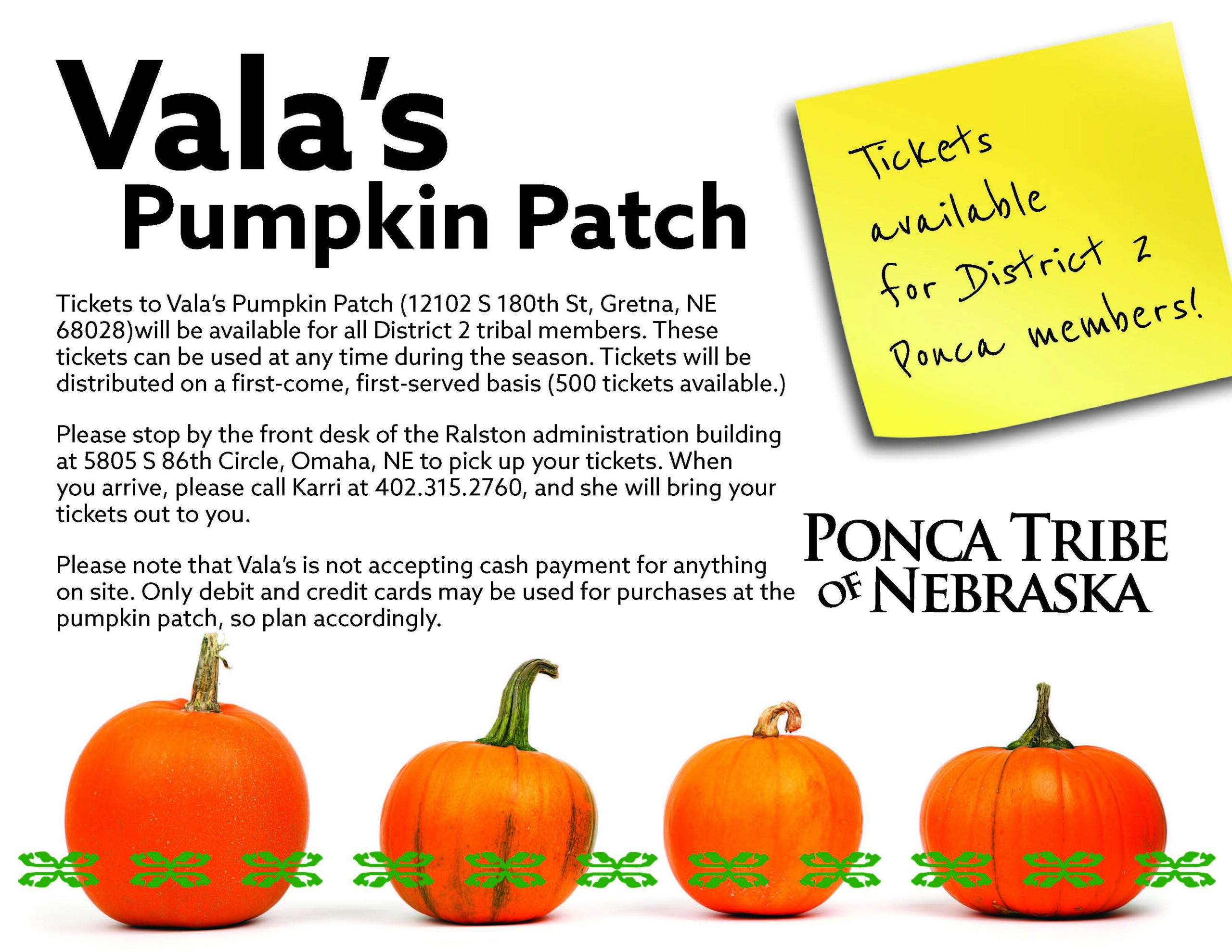 District 2 Members: Vala's Pumpkin Patch Tickets Available